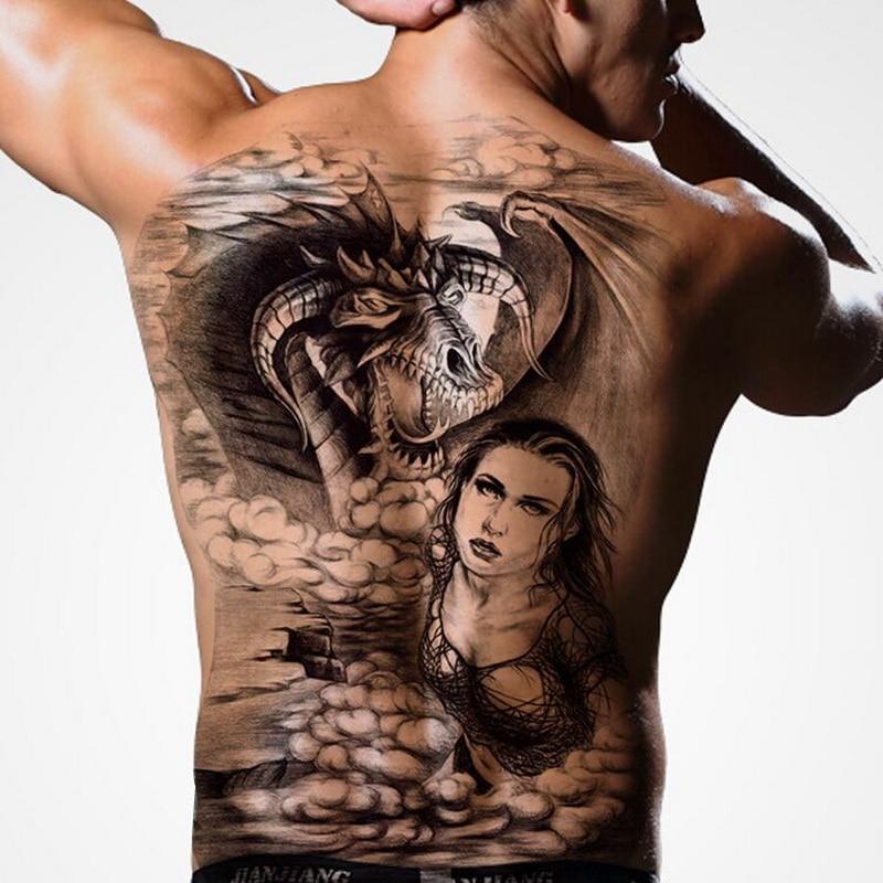 48*34cm Full Back Large Tattoo Stickers 2018 New 20designs Fish Wolf Dragon Buddha Waterproof Temporary Tattoos  Chest Body Men