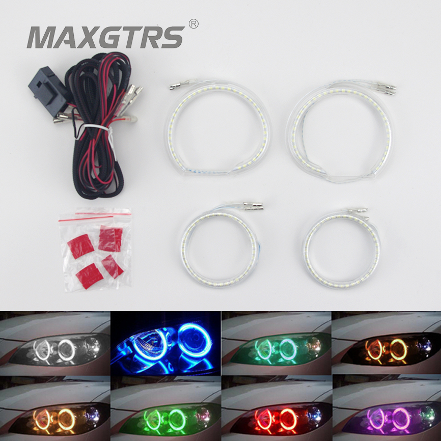 4x(93mm+72mm) Angel Eyes 3528 138SMD Halo Ring Kit LED DRL Headlight Semicircle For BMW Mazda Non Projector With Lampshades Fuse for bmw e46 3 series non projector rgb led angel eyes ring 5050smd 2x131mm 2x 145mm color changing headlight angel eyes