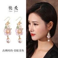 earring maid, Korean net red personality, all kinds of pure silver ear pendant long pendant, super fairy earrings.