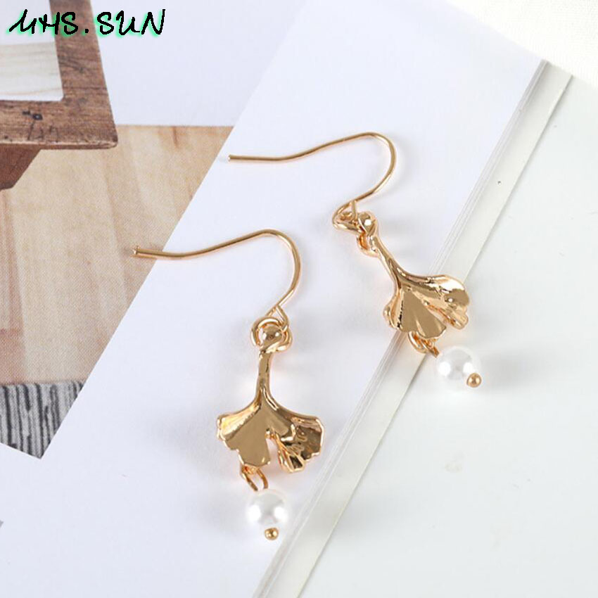 15-3Fashion Design Leave Pearl Drop Earrings Gold Color Girls Trendy Elegant Dangle Earrings Charm All-Match Jewelry 1Pair
