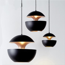 Vintage Nordic Black/White Aluminum Apple Design Suspension for Dining Room Bar Foyer Decor Metal Pendant Light 25/35cm 2434