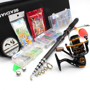 1.8m-3.0m Spinning Rod and Spinning Reels Portable Bag Set carbon rod Travel Fishing Tackle contain Line Lures Hooks Free gift