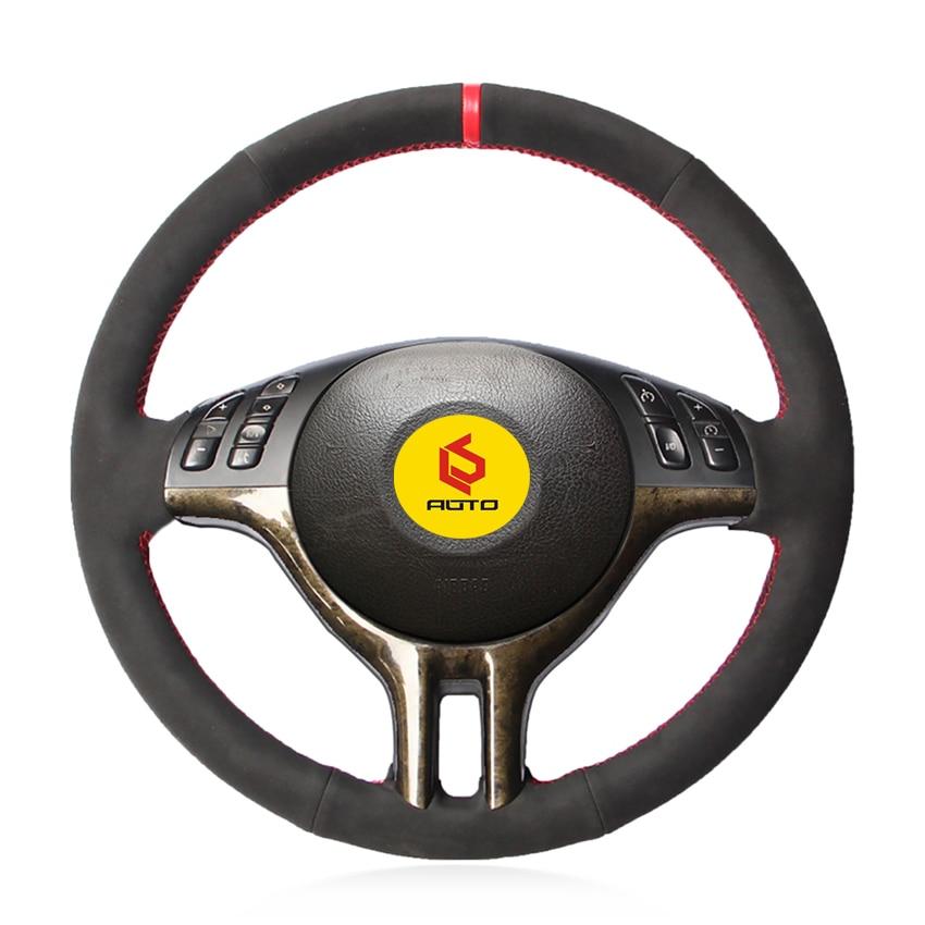 Braid On The Steering Wheel Cover For BMW E39 E46 325i E53 Funda Volante Leather Steering Wheel Case
