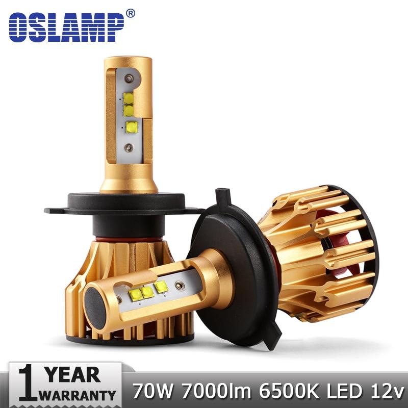 Oslamp H4 H7 LED Headlight Bulbs H11 9005 9006 SMD Chips 70W 7000LM 6500K Car Led H1 Auto Headlamp Headlights Led Light 12v 24v 2pcs 9006 27 led 5050 smd car auto xenon white head fog headlight light bulbs
