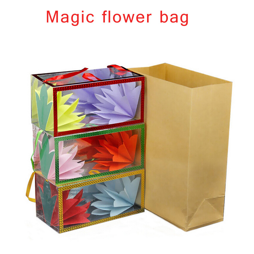 New Strange Funny Mysterious Mystical Fire Magic Tricks Creative Magic Paper Bag Change Flower Bag Funny Toy