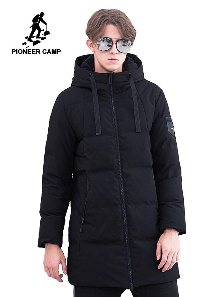 Пионерский лагерь толстый зимний пуховик Мужская брендовая одежда длинный теплый пуховик мужской наивысшего качества черный AYR801474