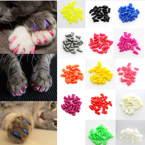 Hot Sale 20pcs Colorful Soft Pet Dog Cat Kitten Paw Claw Control Nail Caps Claw Control Paws Off + 1 Pcs Adhesive Glue Security