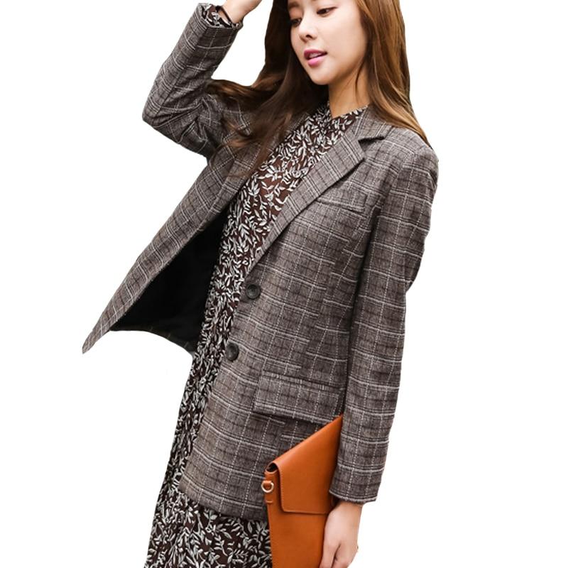 2018 Causal Work Women Blazers Slim Style Femme Blazer Office Brown Plaid Outfits Loose Fashion Notched Jacket Outwear Feminino