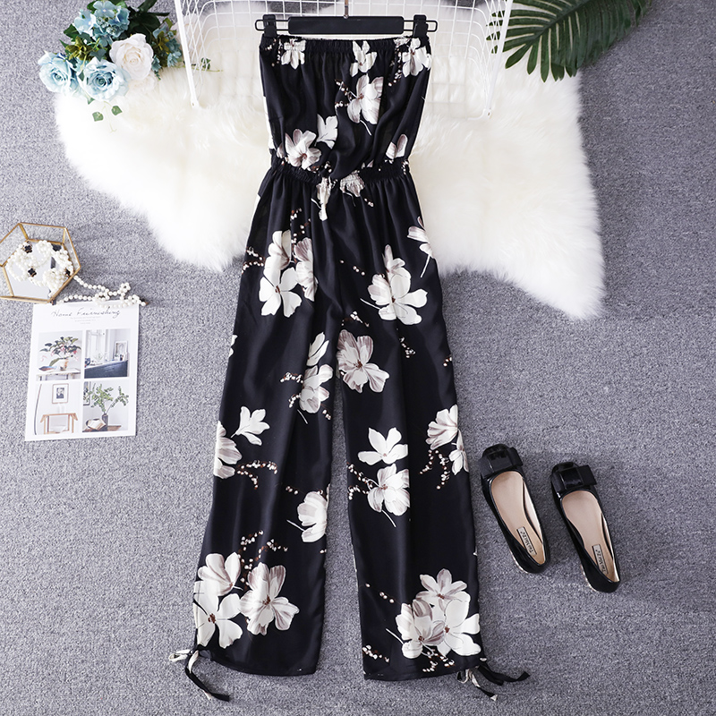 2019 Summer Floral Print Strapless Soft Women Rompers High Waist Side Slit Stretchy Cuff Women Casual Beach Jumpsuits 3