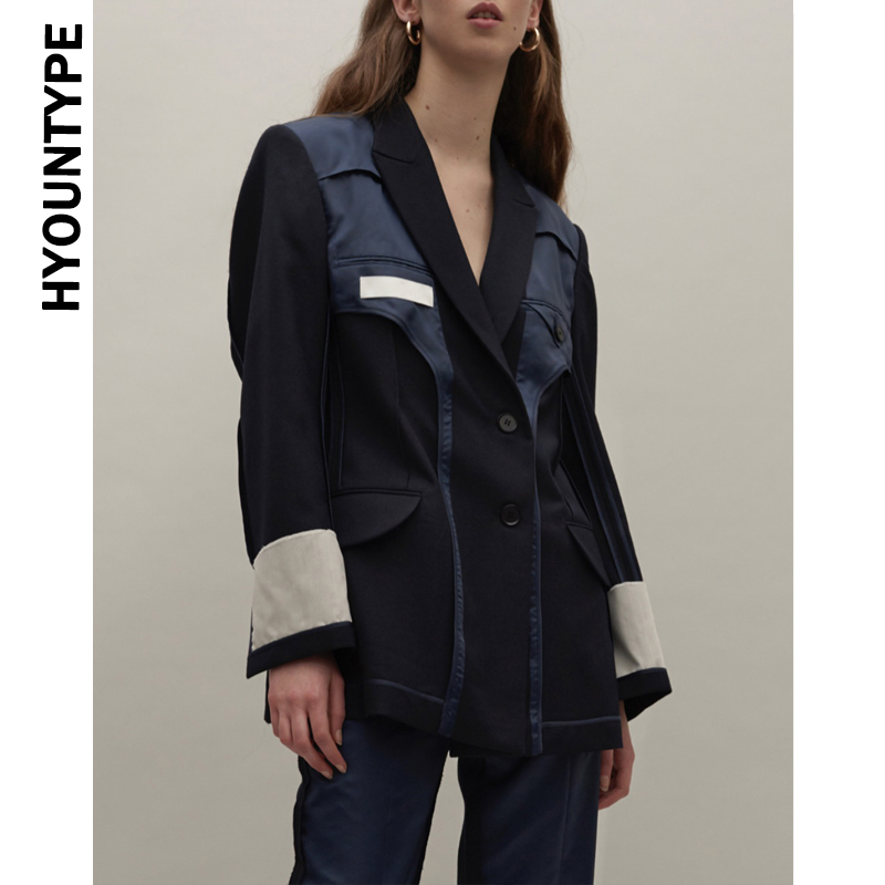 Backwards Design Tunic Blazer Coat Women Patchwork Long Sleeve Tops Female High Quality Blazers 2019 New Fashion Clothes Autumn