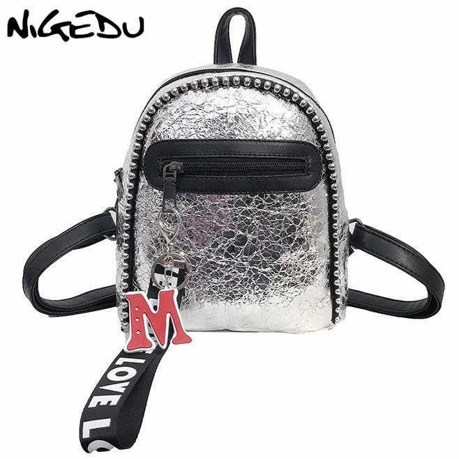 1ea95eb2b2 NIGEDU mini backpack women leather backpacks silver black travel   fashion female