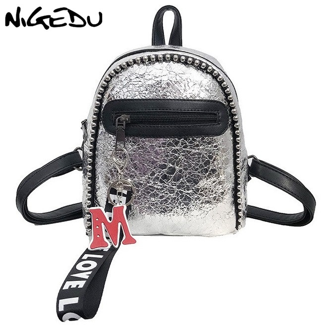 NIGEDU mini backpack women leather backpacks silver black travel fashion female student backpack small backpack women