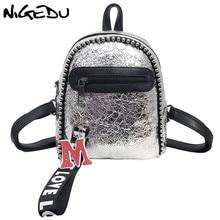 NIGEDU mini backpack women leather backpacks silver black travel fashion female student backpack small backpack women