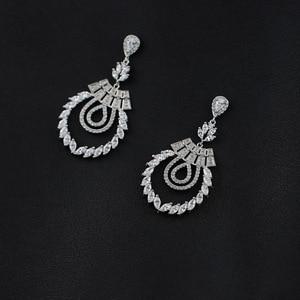 Image 5 - Pendiente de boda con colgante de rama de circonia cúbica para mujer, joyería para niña, aretes de cristal CE10191