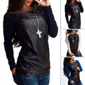 New Sexy Womens Casual Loose Leather Long Sleeve Shirt Tops