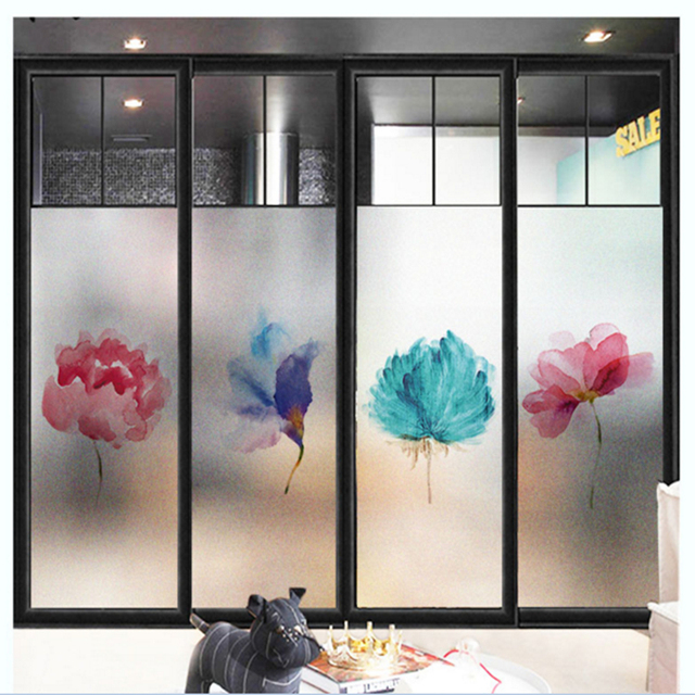 window frost stickers nordic color flowers electrostatic glass film