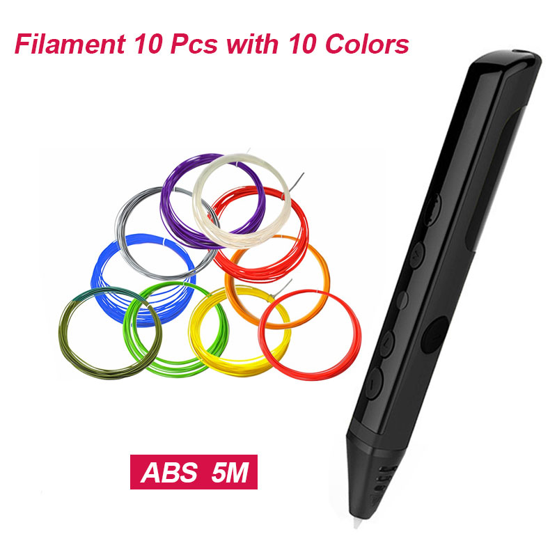 3D Printing pen for kids 10pcs 50M PLA/ABS/PCL Filaments printing plastic Low temperature 3Dpen birthday gift for children girls new arrival 3d printing pen with 100m 10 color or 200 meter 20 color plastic pla filaments 3 d printer drawing pens for kid gift