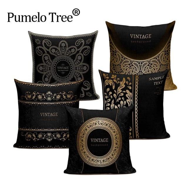 Quality Vintage Retro Stylish High Density Decorative Pillow Covering Throw  Sofa Seat Car Cushion Cover Black Gold Frame Fashion