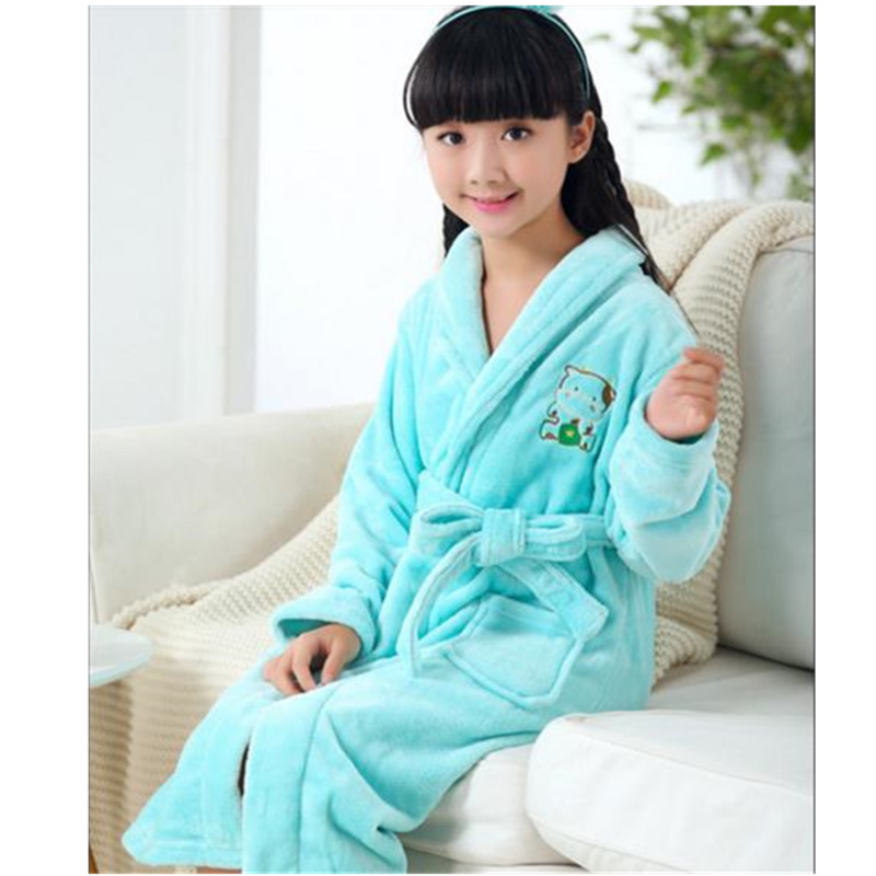 Autumn Winter Flannel Nightgown Children'S Pajamas Thick Coral Boys And Girls  Baby Bathrobe SleepWear Kimono Soft Warm B0266