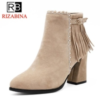 RizaBina Flock Thick High Heels Women Boots Ankle Boot Tassel Woman Shoes Lady Shoes Short Plush Autumn Footwear Big Size 34 43