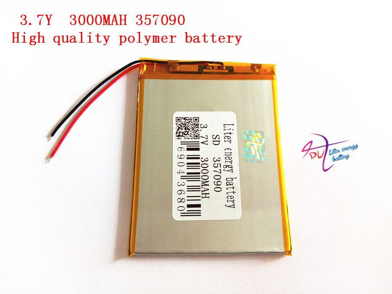 Polymer lithium ion battery 3.7 V, 357090 3000mAh can be customized wholesale CE FCC ROHS MSDS quality certification 5pcs 3 wire polymer lithium ion battery 3 7v 3360140 4000mah can be customized wholesale ce fcc rohs msds quality certification