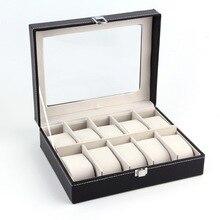 Cuero de LA PU 10 Slots Caja de Reloj de Exhibición de La Joyería Titular Del Organizador Del Almacenaje Caja Caja de Reloj Profesional 2017 Nuevas Llegadas