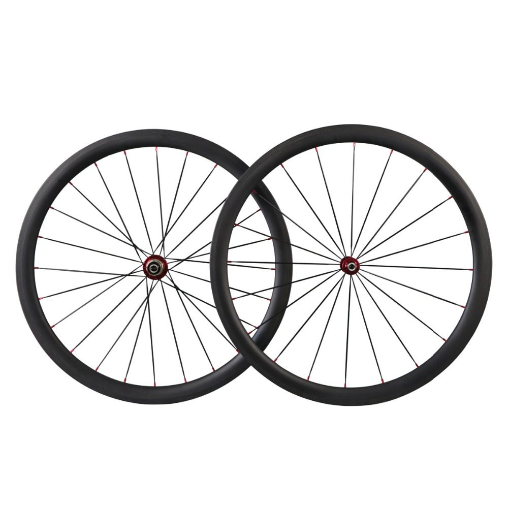 Ican 40mm carbon wheelset <font><b>700c</b></font> clincher tubeless ready road bike wheels 260C TG rating <font><b>rim</b></font> brake Bitex R13 CN spokes US Stock image