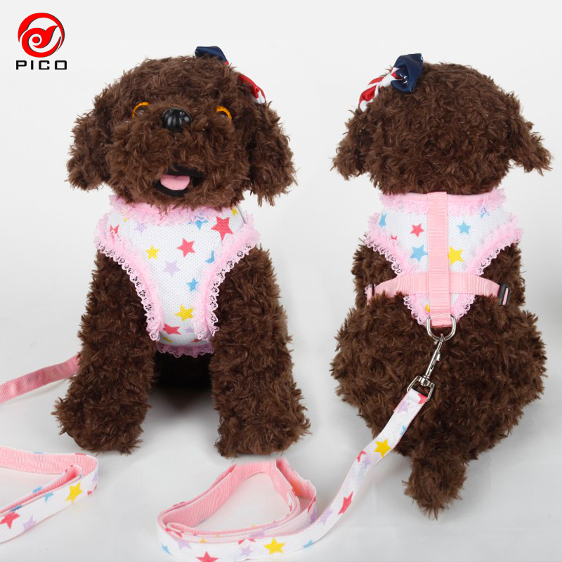 Cute Grid Pet Puppy Dog Harness Vest Dog Accessories Lace Dog Collar