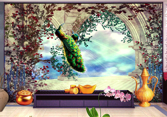 3d wallpaper custom mural non-woven European space expansion garden peacock figure setting wall photo wallpaper for walls 3d 3d room wallpaper custom mural non woven 3 d european angel figure looking down ceiling mural photo wallpaper for walls 3d