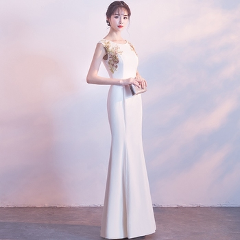 Sexy High Split Women Mermaid Dresses Embroidery Elegant Sleevelss Evening Party Gown Long Slim Vestidos Business Formal Dress