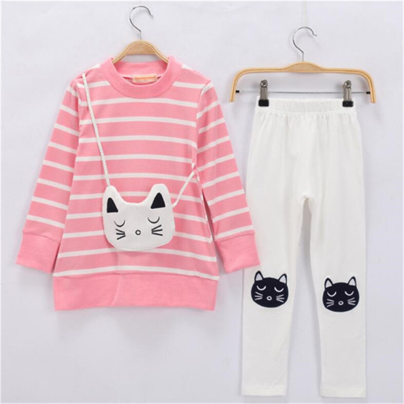2017 new baby clothing set girls clothes long sleeve t-shirt + pants suit cotton girl children 3-8Y  -  Little Angels children's store store