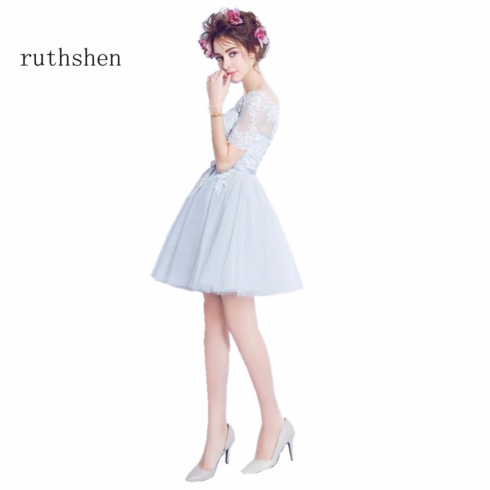 ruthshen Cheap A Line Short Knee Length   Cocktail     Dresses   Short Sleeves Lace Appliques Vestidos Coctel 2018 For Special Occasions