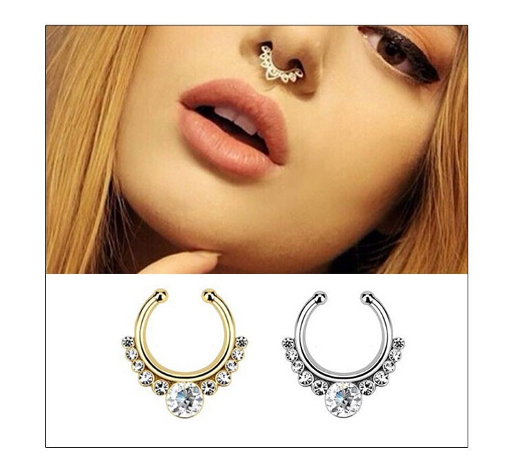 Surgical Steel Titanium Gold Silver Plated Crystal Fake Nose Ring