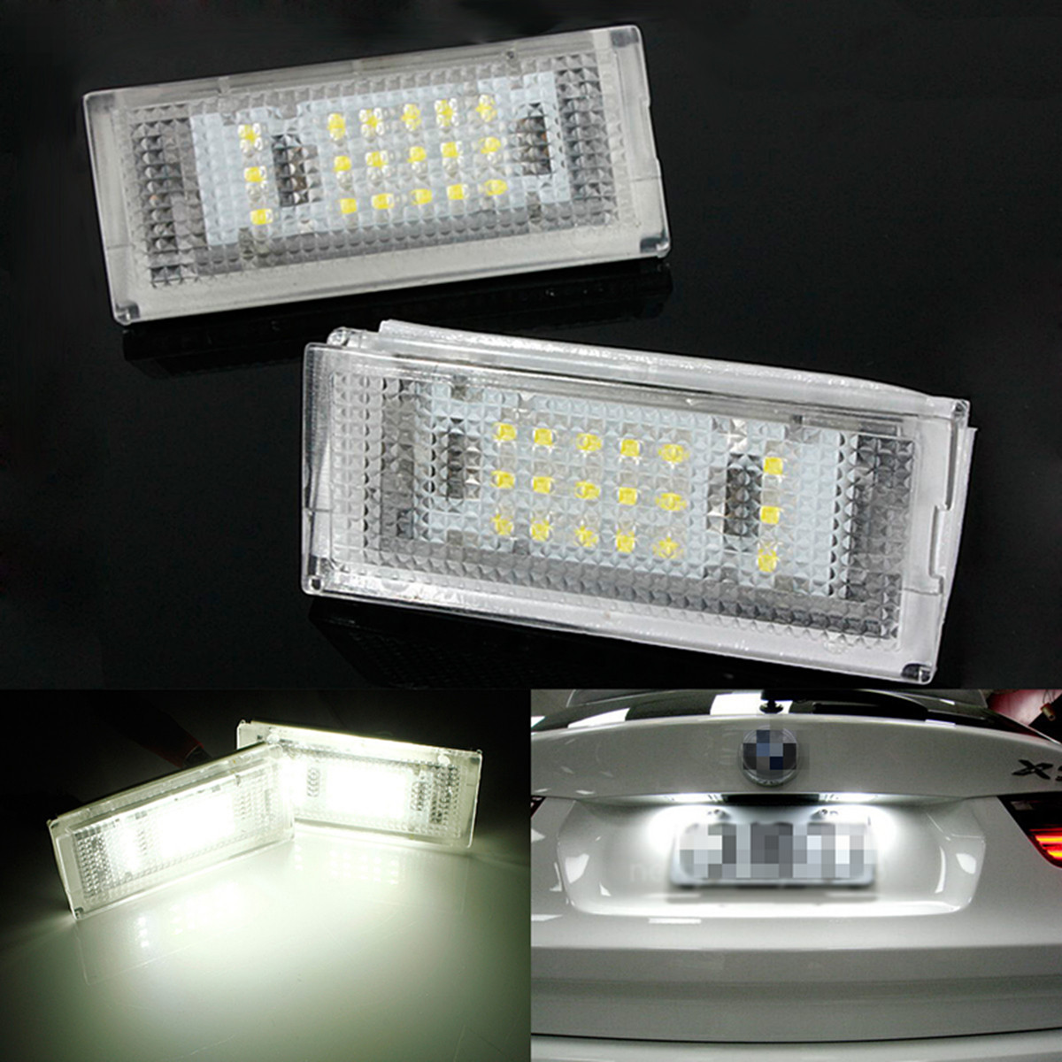 2Pcs 18 LED 6000K For HID License Plate Light Number Plate Lamp For BMW E46 4D 4Doors 323i 325i 328i 99-03 Error Free 2pcs led license plate light lamp 24 smd led license plate light lamp white error free for bmw e39 e60 e61 e90 e91 m3 m5 x5 x6