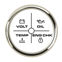52 мм 4 светодиодный сигнал тревоги Датчик вольтметр масла Давление Температура воды сигнализация двигателя 9-32 V для авто яхты 7 цветов Подсв...