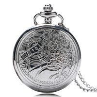 Men Women Silver Doctor Who Designer Quartz Pocket Watches With Long Necklace Chain Gift Round Clock