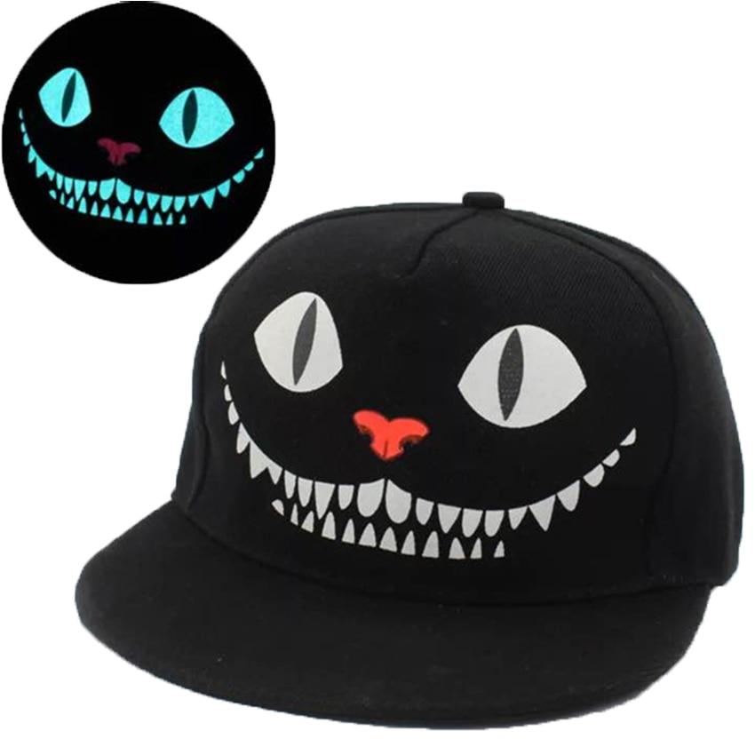 New Glow In The Dark Men Women Snapback Hats Cartoon Cheshire Cat Adjustable Adults Fluorescent Flat Baseball Caps Gorros Bonnet 7ml bnoctilucent fluorescent lacquer neon glow in dark nail polish