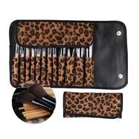 ZMHEGW 12 STÜCKE Make-Up Pinsel Set Strom Foundation Cream Erröten Eyeshdow Sexy Leopardenmuster Tasche Schönheit Pinsel Kosmetische Tool-kits 45