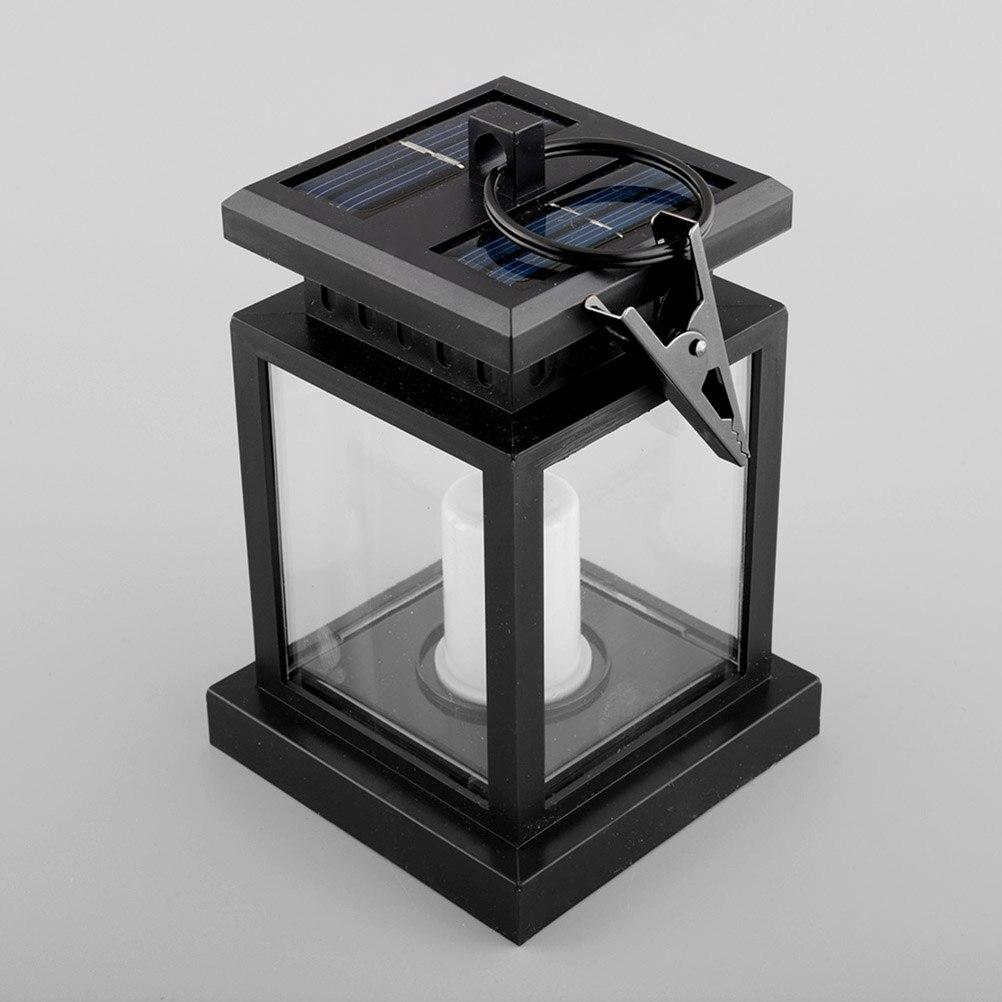 LED Solar Powered Modern Mission Lantern Lamp Waterproof Umbrella Lights  With Clip LED Candle Light Yard Garden Decor Hang Lamp