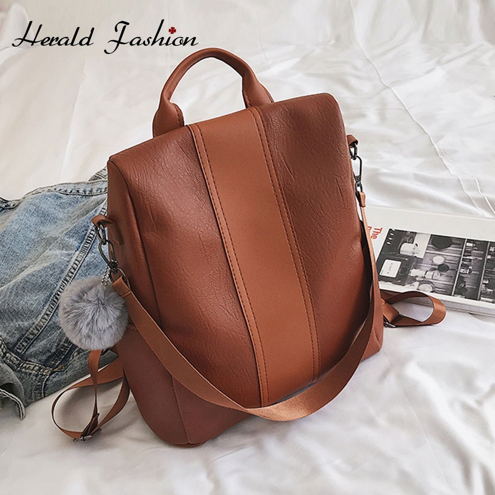 Herald Fashion Women Anti-theft Backpack Quality Leather Vintage Female Larger Capacity School Shoulder Bag Casual Travel Bag