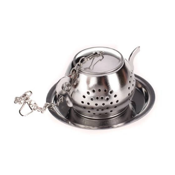 1pc Teapot Pot Shape Stainless Steel Leaf Tea Infuser Filter Strainer Ball Spoon Strainer / infuser / tea spoon shaped teapot kodaskin carbon 3d adesivi sticker decal emblem protection tank pad gas cap z1000 2012 2015