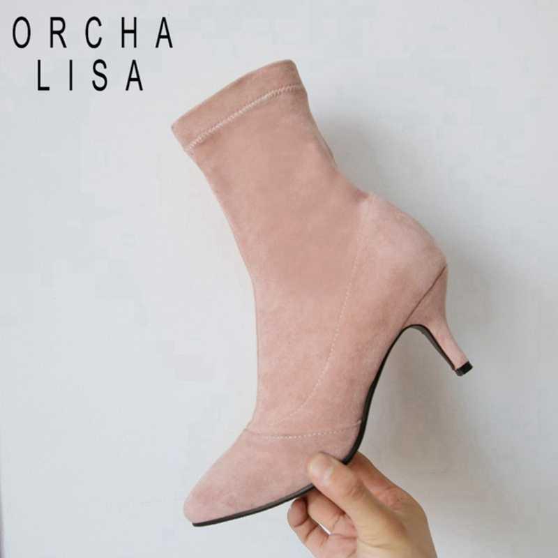 ORCHA LISA Bayan yarım çizmeler ince topuk akın gerilmiş kumaş kısa patik bayan elbise parti ayakkabıları botas mujer boyutu 44 C947