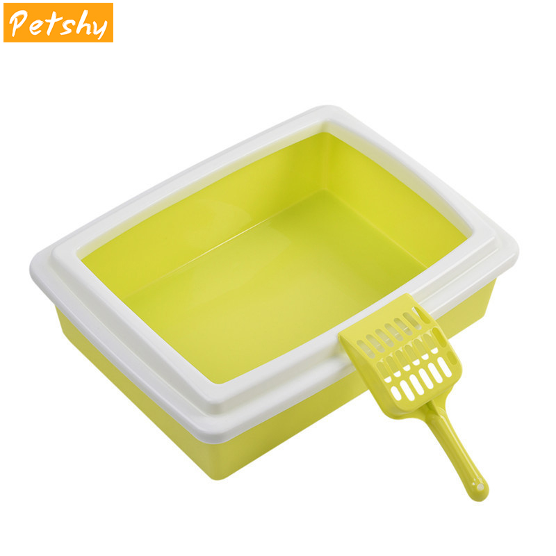 Petshy Cat Bedpans Semi Closed Anti splash Cat Toilet Cat Litter Box Plastic Bedpan Case Pet Supplies Easy To Use in Cat Litter Boxes from Home Garden