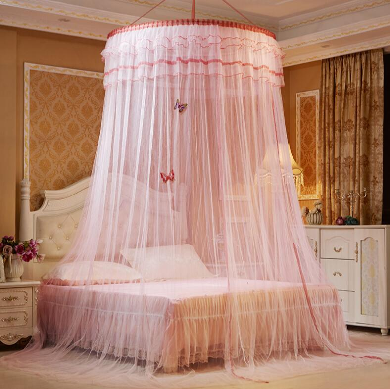 NEW Princess Hanging Round Lace Canopy Bed Netting Comfy Student Dome Mosquito Net for Crib Twin Full Queen Bed