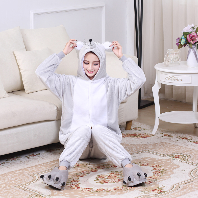 Soft Gray Mouse Onesie Flannel Warm Cute Pajamas Kigurumi Animal Sleepwear Adult For Women Cosplay home Special Costume Jumpsuit (6)