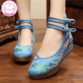 Bright Peacock Embroidery 5cm Women Pumps Shoes Old Peking Mary Janes Inside Increased Soft Sole Cloth Shoes Woman