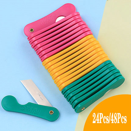 24/48Pcs Pencil Sharpener Student Utility Knife Paper Knife Manual Knife Mini Fold Portable Pencil Sharpener Letter Opener
