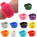 Waterproof Mens Womens Digital LED Touch Sports Silicone Bracelet Wrist Watch &3064  Free shipping
