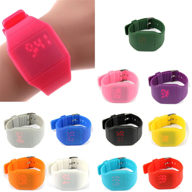 Waterproof Mens Womens Digital LED Touch Sports Silicone Bracelet Wrist Watch Fr