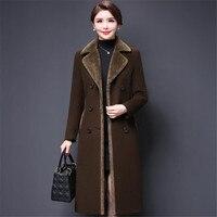Thickening Wool Coat Women Winter Long Velvet Jacket Double Breasted Long Sleeve Woolen Overcoat M 4Xl Ds50201